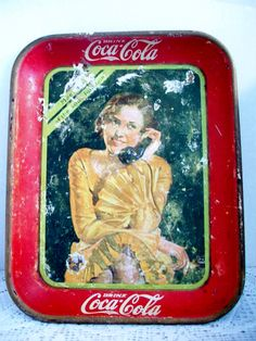 Vintage Red Drink Coca Cola Tin Tray 1930 Girl by ALEXLITTLETHINGS