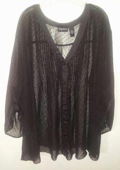 Maggie Barnes Black Sheer Cover Up Fly Jacket Blouse Plus Sz 5x6x7x 32/34/36/38 #MaggieBarnes #PlusSize #SwimCoverUp