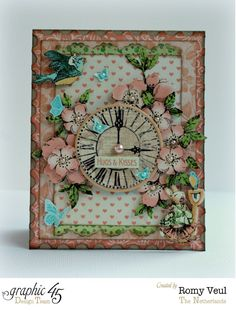 Graphic 45 DT Valentine's Day card with the stunning Once Upon a Springtime collection.