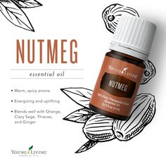 One of my favorite Young Living essential oils to diffuse in combination with ot. One of my favorite Young Living essential oils to diffuse in combination with other oils in the fall and winter! Click the link in my bio to order! Essential Oils Guide, Essential Oil Blends, Young Living Oils, Young Living Essential Oils, Nutmeg Oil, Easential Oils, Doterra Oils, Oil Uses, Diffuser Blends