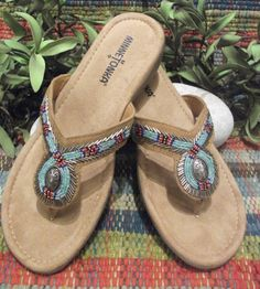 The Bisbee! A fun beaded flip flop sandal with red, turquoise & silver native patterns!  $ 49.00