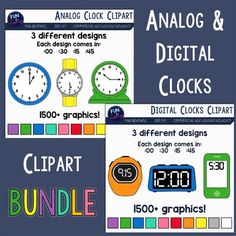 Analog Digital Clocks Clipart Bundle