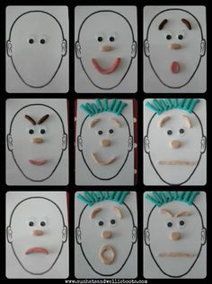 A playdough activity that's great for recognizing, naming, & positioning facial features as well as exploring a variety of facial expressions & feelings/emotions. Playdough Activities, Learning Activities, Preschool Activities, Emotions Preschool, Teaching Emotions, Outdoor Activities, Body Preschool, Emotions Activities, Art For Kids