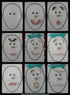 visage et pâte à modeler - pourrait aider avec le dessin, pour comprendre les sourcils et la bouche dans différentes émotions