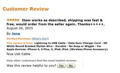 Great 5 star review - Lightning Cable by SWISS-QA