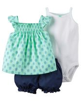 Complete with flutter sleeves, bubble shorts and a cute little bodysuit, this soft cotton set is super sweet for spring.
