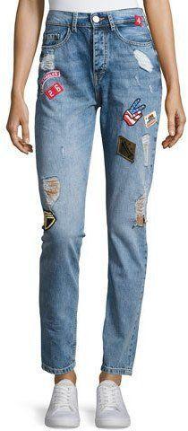 Etienne Marcel High-Rise Patch Denim Jeans, Blue
