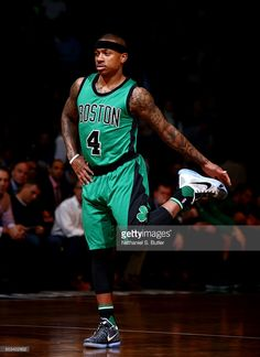 Isaiah Thomas #4 of the Boston Celtics warms up during the game against the Brooklyn