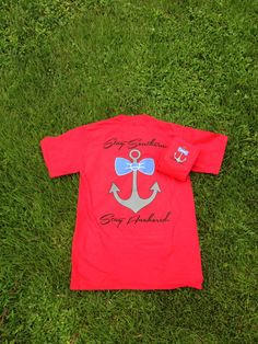Red Southern Anchor Logo Pocket Tee