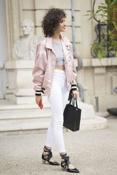 Opt for high-waisted denim and an oversize slouchy bomber and accent the combination with your accessories....