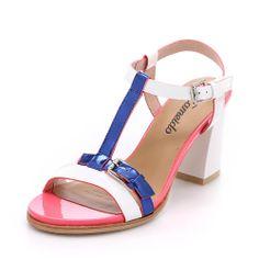 【卡美多Cameido KW16GETP32-10601 白色/宝蓝色】卡美多(cameido) 拼色牛漆皮拼色方跟女凉鞋KW16GETP32-10601-06
