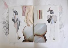 Fashion Sketchbook exploring delicate organic layers found in natural form; fashion drawings and interpretations in fabric; the fashion design process