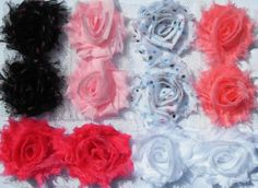 12 Paris Dots small shabby chiffon flowers sample bag - for hair clips