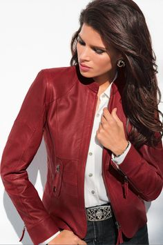 I've wanted a red leather jacket for years.  I like this one.  Not too much hardware!