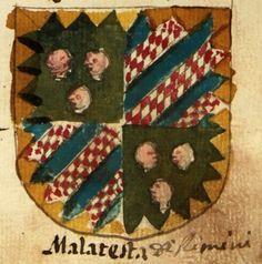 """Stemma Malatesta, da """"Araldo nel quale si vedono delineate e colorite le armi de' potentati e sovrani d'Europa"""", Biblioteca Estense, Modena."""
