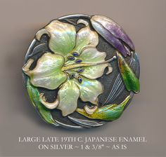 Button  Large Late 19th C. Japanese Enamel on Silver by rclarner