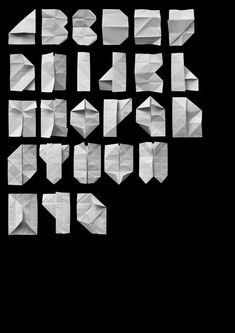 This folded paper font is pretty clever. By Vladimir Tomin. http://www.sharesomecandy.com/41-creative-and-unique-alphabe-charts.html