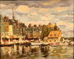 DELANGE (twentieth century) View of the Lieutenancy, Honfleur Oil on canvas signed lower right