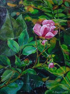 """Krystyna Beata Bogdańska """"W jesiennym ogrodzie""""; akryl na płótnie lnianym; werniksowany; wymiary 30 x 40; rok 2011  W jesiennym ogrodzie   zoom   digart.pl"""