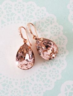 Vintage Rose Pink Swarovski Crystal Teardrop (13mm x 18 mm) in roes gold plated closed back stone settings. Cubic zirconia Teardrop earrings, rose gold plated.  Nickel Free.