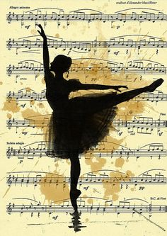 Items similar to Print Art Ink Drawing canvas gift Ballet Sketch music Silhouette Painting Illustration Ballerina Vintage Autographed Emanuel M. Ologeanu on Etsy Music Silhouette, Silhouette Painting, Ballerina Silhouette, Ballerina Drawing, Street Art, Ballet Art, Ballet Music, Ballet Painting, Dance Music