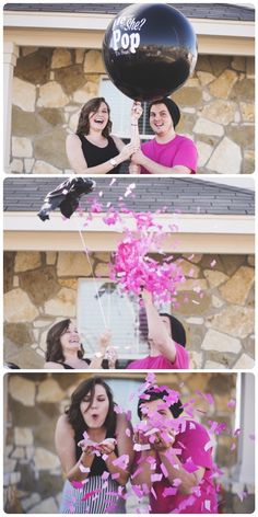 Wouldn't this be a fun way to announce baby's gender? It would add so much POP to the gender reveal party!