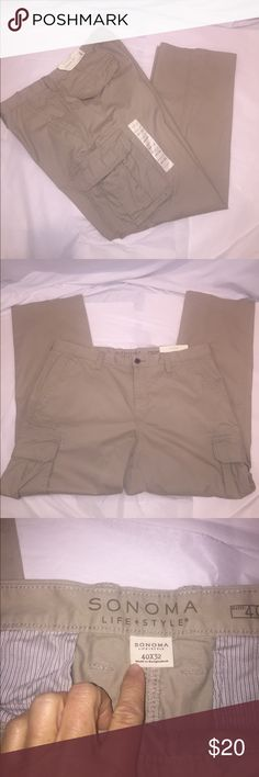 🆕 Khaki Cargo Pants in Tan 🆕 Khaki Cargo Pants in Tan button/zip closure, two front slip pockets, two back button down flap pockets and two button down cargo pockets Relaxed fit, 40x32. Please ask questions if needed. Sonoma Pants Cargo