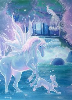 Enchanted pool, winged unicorn in a magical forest pool . Fantasy Unicorn, Unicorn And Fairies, Unicorns And Mermaids, Unicorn Horse, Unicorn Art, Magical Unicorn, Rainbow Unicorn, Mythical Creatures Art, Mythological Creatures