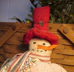 PRIMITIVE Folk Art Christmas SNOWMAN Decoration made from Antique QUILT