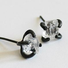 Handmade White Crystal Earring, 925 Silver Crystal Rock Ear Studs, Unique Gift #handmade #etsymntt