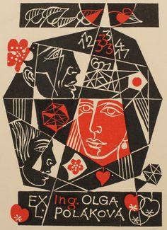 Ing. Olga Polakova bookplate (or ex libris), by Dusan Janousek.