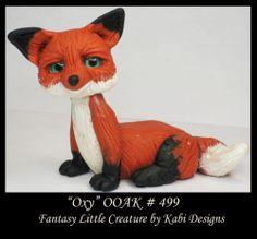 Fantasy Little Fox DollHouse Art Doll Polymer Clay CDHM OOAK IADR Oxy miniature by Karina Henriquez