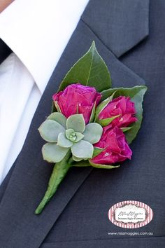 Pink rose with succulent for groom's corsage