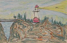 Île de Grand-Manan_Phare de North Head_325_pastels Rembrandt Little Island, Rembrandt, Pastels, Painting, Lighthouse, Painting Art, Paintings, Drawings