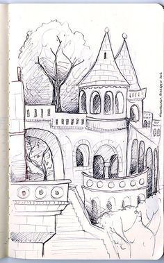 Mandy Fisher - Ballpoint sketches of Budapest, Fishermans Bastion in Moleskine Journal. Pencil Art Drawings, Art Drawings Sketches, Easy Drawings, Architecture Drawing Sketchbooks, Architecture Art, Disney Castle Drawing, Background Drawing, Urban Sketching, Pen Art