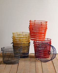 Love that these new baskets inspired by vintage potato baskets come in bright modern colors. Coveting a pair in orange.