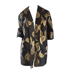 Rare 1950s Alfred Shaheen Vintage 50s Black And Gold Hand Printed Kimono Jacket | From a collection of rare vintage jackets at https://www.1stdibs.com/fashion/clothing/jackets/