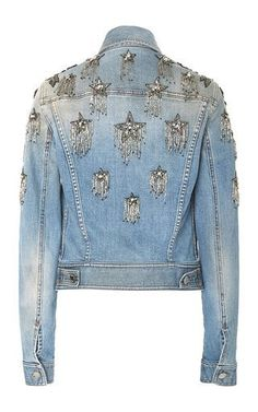 Star Embellished Denim Jacket by Roberto Cavalli | Moda Operandi