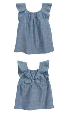 crewcuts Gale Chambray Top with a bow back and flutter sleeves #affiliate #toddler