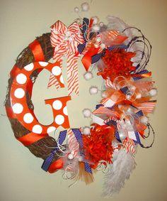 Clemson Tigers Team Colors Wreath by DanaCarolM on Etsy, $65.00
