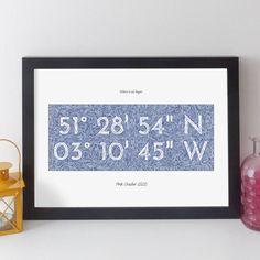 Personalised Coordinates Print Contemporary By Elevencorners | notonthehighstreet.com