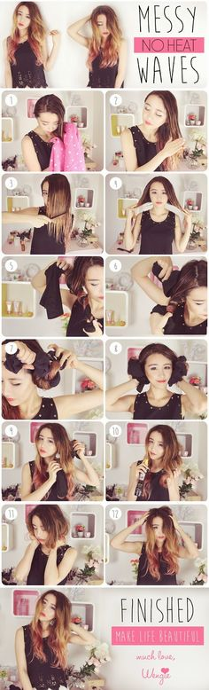 影片 http://www.wengie.com/2014/06/no-heat-messy-waves-using-t-shirt-hair.html