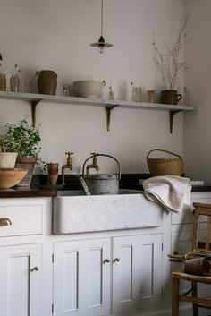 How to get the vintage look without the hassle of finding the perfect vintage piece. - The deVOL Journal - deVOL Kitchens How to get the vintage look without the hassle of finding the perfect vintage piece. - The deVOL Journal - deVOL Kitchens Classic Kitchen, Farmhouse Style Kitchen, Modern Farmhouse Kitchens, Kitchen Dining, Kitchen Cabinets, Kitchen Modern, Kitchen Backsplash, Kitchen Contemporary, Backsplash Ideas