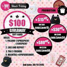 The Kawaiiest Sale From SpreePicky !!  ✨100$ Gift Card Giveaway ✨  1.Follow @spreepicky and @cospicky  2.Like and Repost  3.Tag 3 Friends 4. Hashtag #SPBFGIVEAWAYY 5.Ends on Nov.30 ,2015  Join In Our Giveaway Here:http://goo.gl/6qHXV5  Code promotion:  a. 15$ off on 60$(Code:Love15)  b. 30$ off on 100$(Code:Love30)  c. 80$ off on 200$(Code:Love80)   Shop it now :http://goo.gl/tDoxox  #spreepicky #kawaii #sale #promotion #Thanksgiving #BlackFriday #CyberMonday