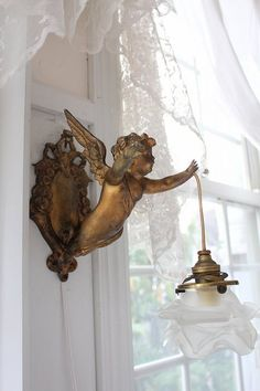 """Hanging Lamp antique rare French Angel"""