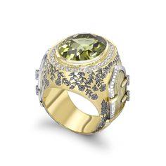 18ct Yellow Gold 12.65ct Green Tourmaline & 0.58ct Diamond Kensington Park Opening Ring with Peter Pan Statue Enamelling