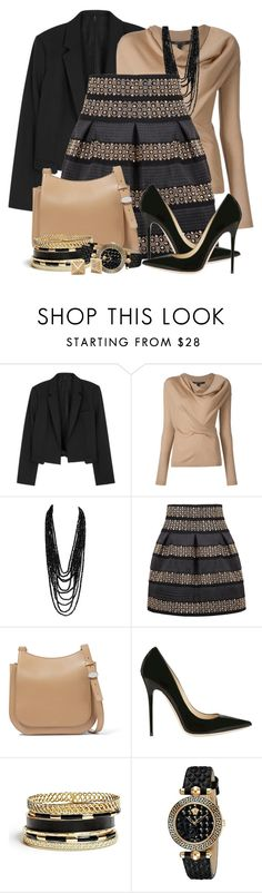 """Fall Short Skirt"" by brendariley-1 ❤ liked on Polyvore featuring Helmut Lang, The Row, Jimmy Choo, GUESS and Versace"