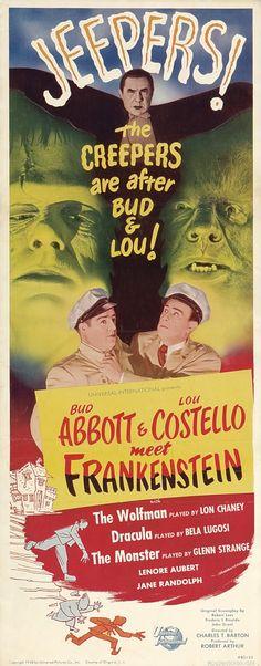 ABBOTT & COSTELLO MEET FRANKENSTEIN (1948) - Bud Abbott - Lou Costello - Lon Chaney - Bela Lugosi - Glenn Strange - Lenore Aubert - Jane Randolph - Directed by Charles Barton - Universal-International - Insert Movie Poster.