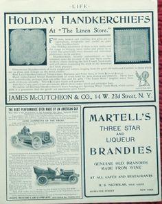 1904 life magazine advertisement page pope cars  martell s brandies  linen store  print Illustration