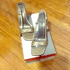 NWT Evening bronze heels Bronze satin slingbacks eveningwear heels. Brand new, with box. Sam & Libby Shoes Heels